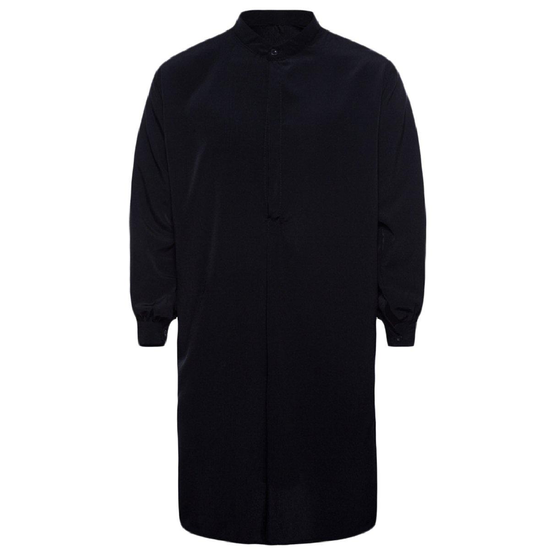 Abetteric Men's Pure Colour Cotton Islamic Muslim Dress Arab Middle Eastern Black L