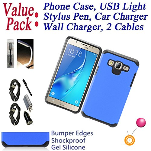 Value Pack Cables + for 5'' Samsung Galaxy J5 Prime On5 Case Phone Case Hybrid Armor Layers Shock Proof Edge Scratch Shield Slim Bumper Cover (Blue) by 6goodeals