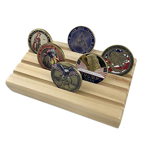 Row Coin Display (AtSKnSK 4 Rows Wood Military Challenge Coin Display Stand Holder Collectible Holds 12-16 Coins(Oak Finish))