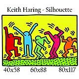 Stampa in Tela Canvas 100% QUALITà ITALIA - Keith Haring - Silhouette effetto Dipinto Idea Regalo Casa quadro cucina stanza da letto soggiorno (80x117)