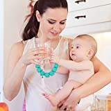Silicone Baby Teething Necklace, HiGo BPA Free Baby Teether Toy Beads for Mom to Wear (Blue)
