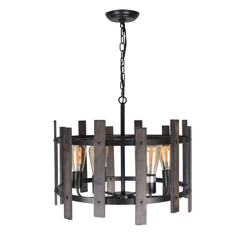 Beuhouz Farmhouse Chandelier Light Fixtures, Metal and Wood Round Chandelier Rustic Dining Pendant Light 6 Light Edison E26 8010