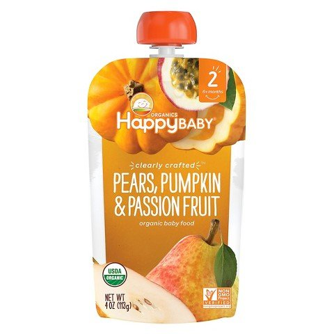 5packs Happy Baby Clearly Crafted, Organic Baby Food Stage 2, Apple Guavas & Beets, Pears Zucchini & Peas, Apples Blueberries & Oats, Pears Pumpkin Passion Fruit, Apples Kale & Avocados