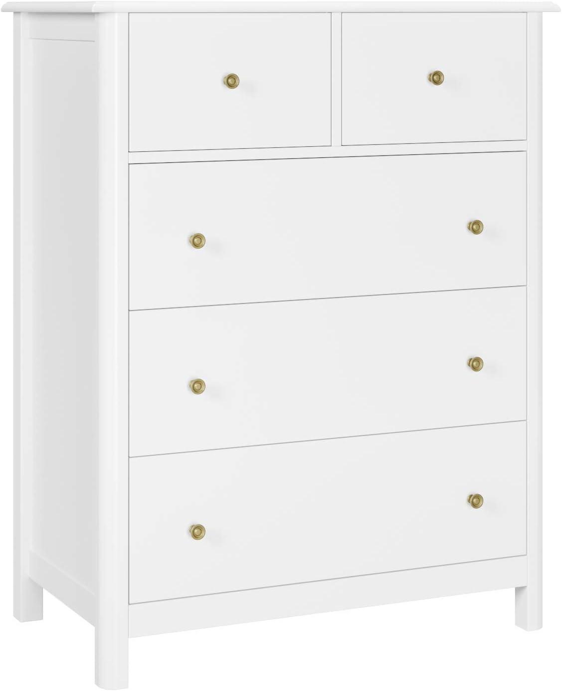 HOMECHO 5 Drawer Dresser, Modern Chest of Drawer, White Dresser Chest for Bedroom, Living Room, Laundry Room, Closet, Wood Frame and Easy Pull Antique Style Handle