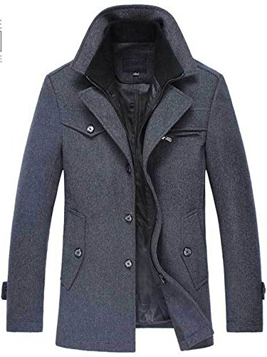 Chouyatou Men's Gentle Layered Collar Single Breasted Quilted Lined Wool Blend Pea Coats (Medium, ()