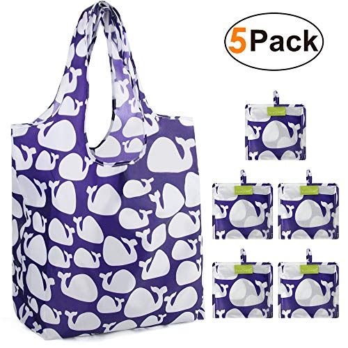 Grocery Shopping Bags Foldable With Attached Pouch Cute Reusable Grocery Bags 5 Pack Bulk Polyester Sturdy Machine Washable Lightweight (Whale)