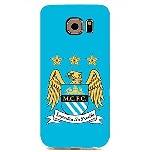 Manchester football club logo print with light blue back cover case for samsung galaxy s6 edge