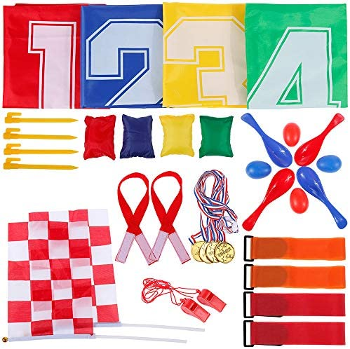 GOLDGE Kinderparty Set Kindergeburtstag Spiele -32 teilig Fun Party für Kinder,4 Sackhüpfen Säcke, 4 Klettbänder für Partnerlauf, 4 Eierlaufen, 4 Bohnensäckchen, 2 Plastik Pfeifen, 2 Zielflagge