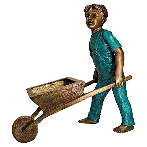 Boy with Wheelbarrow Garden Statue