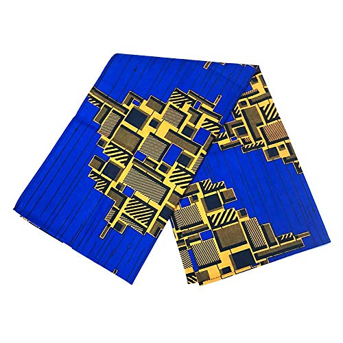 African Head Wrap Extra Long 72x22Wax Print Head Scarf Tie for Women (blue diamond)