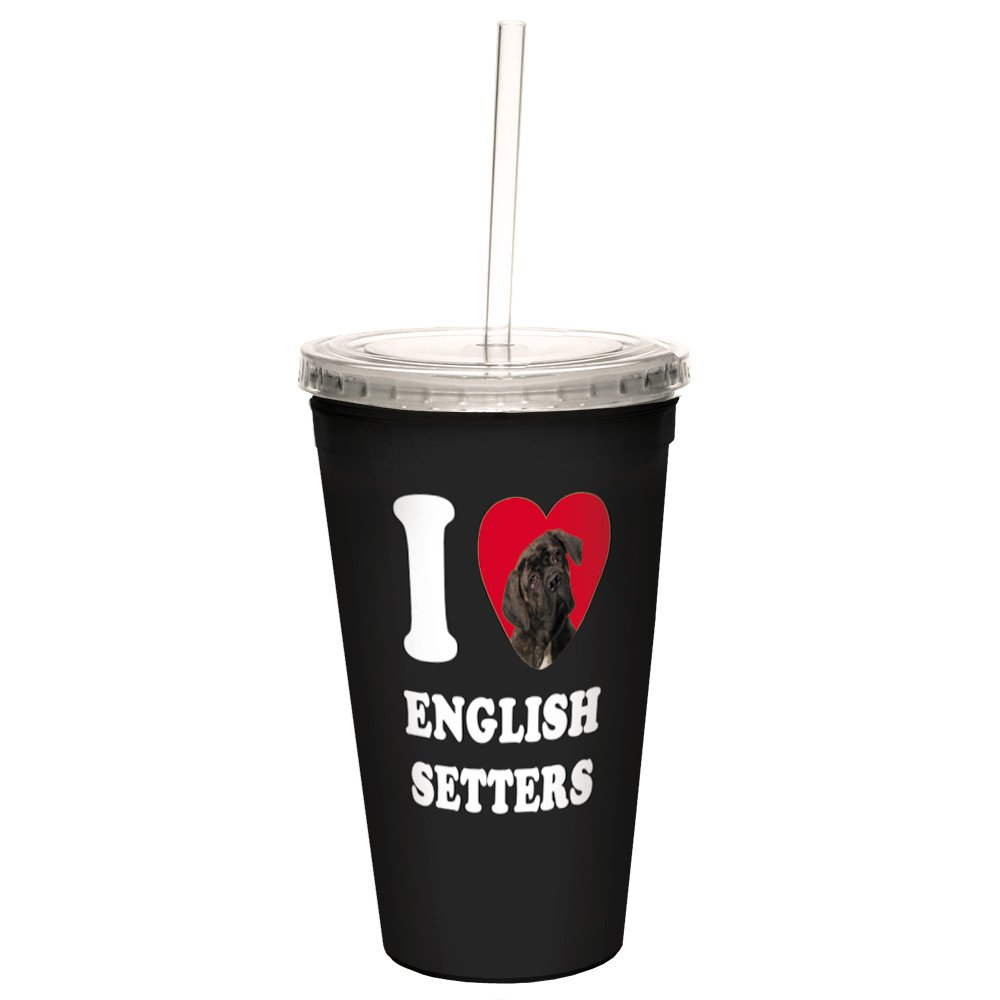 16-Ounce Tree-Free Greetings CC35047 I Heart English Setters Artful Traveler Double-Walled Cool Cup with Reusable Straw