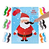 MISS FANTASY Christmas Party Favor Games Pin the Beard on The Santa Claus Xmas Gifts for Kids New Year Wall Decorations (Santa Claus)