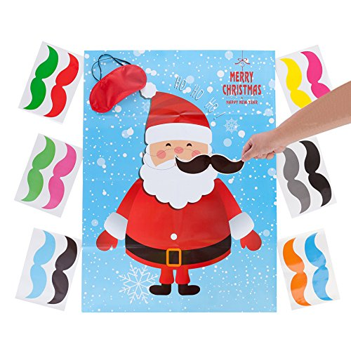 MISS FANTASY Christmas Party Favor Games Pin the Beard on The Santa Claus Xmas Gifts for Kids New Year Wall Decorations (Santa Claus) by MISS FANTASY