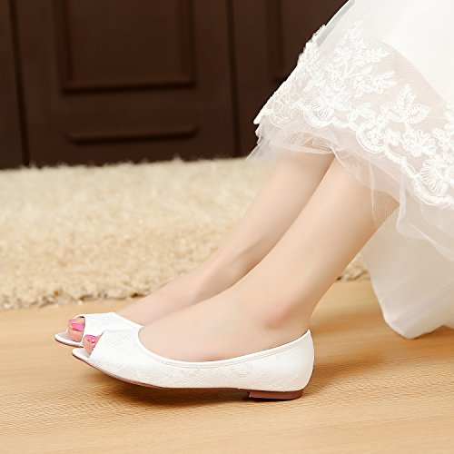 fec510f3277 70%OFF LUXVEER Ivory Lace Flat Shoes Wedding Flats Peep Toe Bridal Flat  Shoes