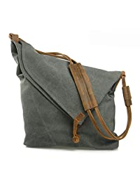 liangdongshop Retro College Fashion Canvas Leather Trim Unisex Hobo Cross Body Messenger Bag Single Shoulder Bag Satchel School Bag
