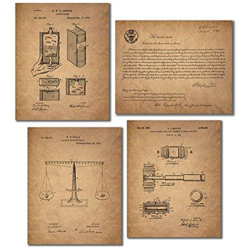 Lawyer - Paralegals - Legal Assistants Patent Wall Art Prints - Set of Four Vintage Photos