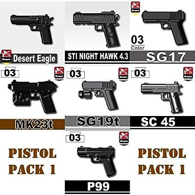 Custom Pistol Pack (P6) Designed for Brick Minifigures: Toys & Games