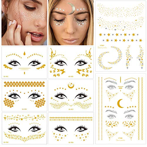 Face Temporary Tattoo Sticker Freckle Sticker Face Gold Glitter Metallic Water Transfer Tattoo for Professional Make up Dancer Costume