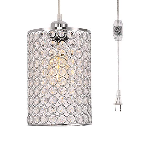 kingmi Plug-in Pendant Lights Modern Crystal Chandelier with ON/Off Dimmer Switch and 16.4' Handing Cord, Chrome Cylinder Style for Bedroom Dining Room and More (Round Pattern)
