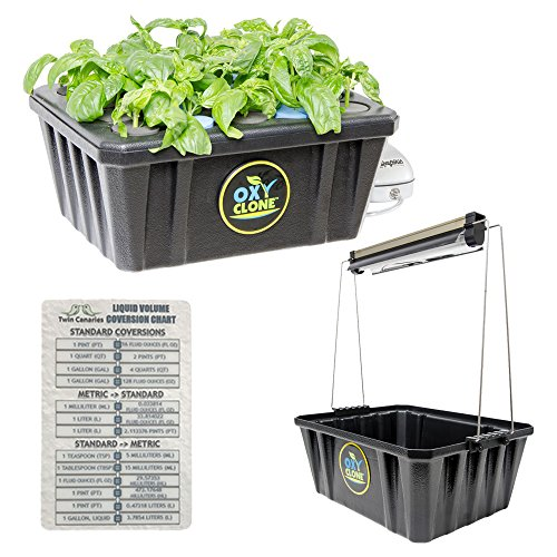 Jump Start T5 12W 1' Attachable Lighting System & oxyCLONE 20 Site Cloning System + Twin Canaries (Evaporative Cooling Chart)