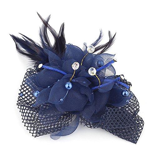 Women Flower Feather Mesh Net Beaded Fascinator Hairpin Hat Headband (navy blue)