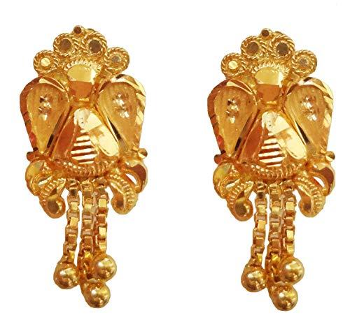 Indian Handmade Solid 22K 916 Stamped Fine Gold Hallmarked Designer Earrings