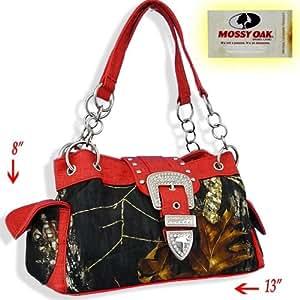 Red Trim Women Purse Handbag Camo Camouflage Mossy Oak Belt Buckle