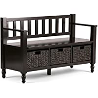 Simpli Home Dakota Solid Wood Entryway Storage Bench w/ 3 Hyacinth Baskets, Dark Brown