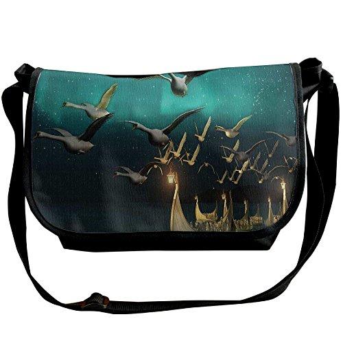 Lovebbag Medieval Elf Boats And Magical Birds Swans Flying Mystical Adventure Illustration Crossbody Messenger Bag