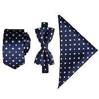 Ainow Mens Fashion Polyster Skinny Neck ties and Bowtie Pocket Square 3pcs Set