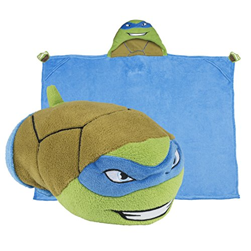 Teenage Mutant Ninja Turtles Hooded Blanket - Kids Cartoon TMNT Character Blankie that Folds into a Pillow - Great for Boys and Girls - by Comfy Critters (Blue Ninja Turtle Name)