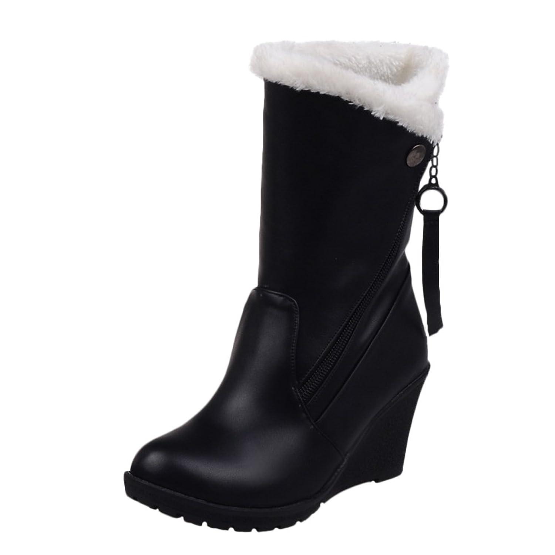 d6f5912a9e48 best Latasa Women s Faux Fur Cold Weather Wedges Mid Calf Boots ...