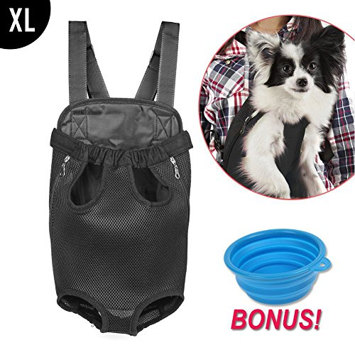 Dog Carrier | Comfortable Legs Out Front Dog Carrier Backpack with Tail Hole | Travel Pet Bag for Travel Cycling with Adjustable Shoulder Strap and Inner Collar | Black | XL | Feeding Bowl Included