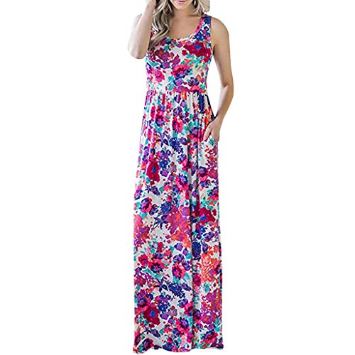 TnaIolral Women's Sleeveless Floral Racerback Loose Swing Casual Tunic Beach Long Maxi Dresses with Pockets (S, Pink)