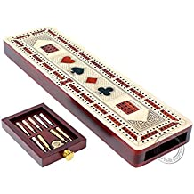 """House of Cribbage 3 Track Continuous Cribbage Board inlaid in Maple Wood/Bloodwood - Size: 12.5"""" - Wood Inlaid Card Symbols (Suits) + Storage Drawer for Cribbage Pegs"""