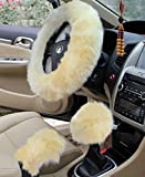 "Automotive : Yontree Winter Warm Faux Wool Handbrake Cover Gear Shift Cover Steering Wheel Cover 14.96""x 14.96"" 1 Set 3 Pcs (Yellow)"