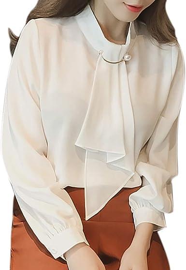 JURTEE Camisa para Mujer Simple Elegante Suave Solid Color Corbata Camisa De La Gasa Tops Blusa De Manga Larga: Amazon.es: Ropa y accesorios
