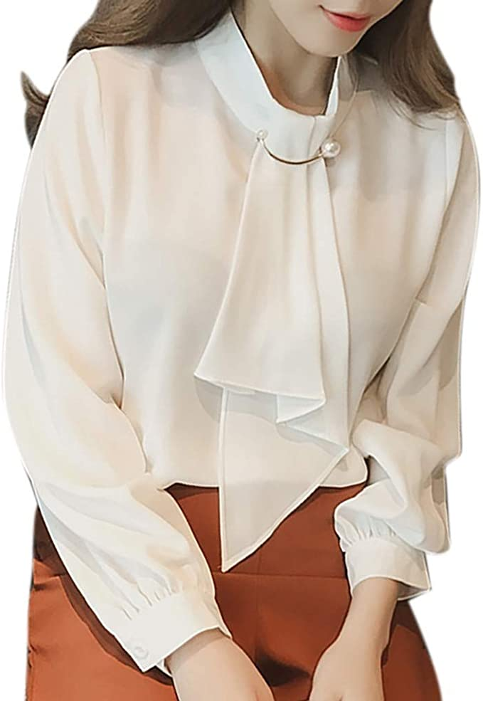 JURTEE Camisa para Mujer Simple Elegante Suave Solid Color Corbata ...