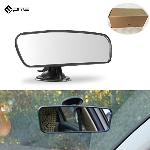 PME Rear View Mirror, Universal Car Truck Mirror Interior Rear View Mirror Suction Cup Rearview Mirror… (Plain Mirror, Width 21.5cm/8.5in)