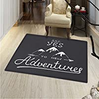 Adventure Rugs Bedroom Say Yes to New Adventures Typographic Quote Scribble Mountains Circle Rugs Living Room 4x5 Charcoal Grey White