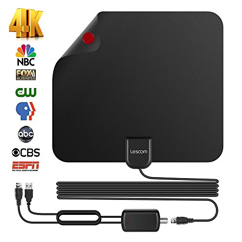 TV Antenna Best 80 Miles Long Range Free HD Program -Lesoom Indoor HDTV Digital Antenna for 4K HD VHF UHF Local Channels with Detachable Ampliflier Signal Booster Strongest Reception 13ft Coax (Amplified Indoor Hdtv Antenna)