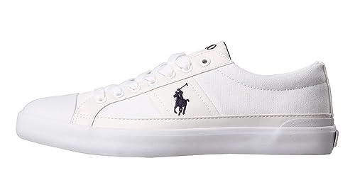 Ralph Lauren - Zapatillas de Tela para Hombre Blanco Weiß, Color Blanco, Talla 47 EU: Amazon.es: Zapatos y complementos