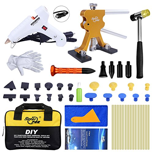 Super PDR 46Pcs New Paintless Dent Repair Tools Kit, Golden Dent Lifter Auto Body Repair Tool with Car Charger Hot Melt Glue Gun Glue Sticks Toolkit for Car Hail Damage and Door Dings Repair by Super PDR (Image #9)