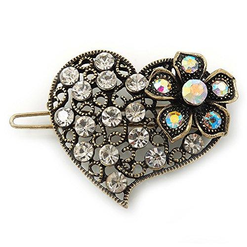 """Peigne à cheveux """"Coeur"""" cristal AB et transparent inspiration vintage en métal doré antique"""