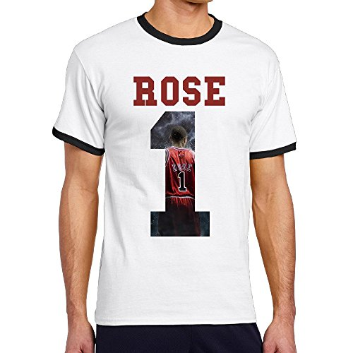Custom Men's Two-toned Classic Famous Basketball Player No.1 Rose Tshirt Black Size M