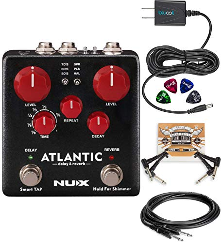 (NUX NDR-5 Atlantic Delay and Reverb Pedal Bundle with Hosa 5-Ft CPP-105 Unbalanced Audio Cable, Blucoil 9V DC Power Supply, 2-Pack of Pedal Patch Cables and 4-Pack of Celluloid Guitar Picks)
