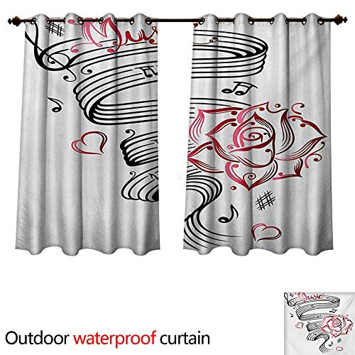 WilliamsDecor Tattoo Home Patio Outdoor Curtain Language of Love Valentines Musical Inspiration on Sheet with Rose Hearts W108 x L72(274cm x 183cm) ()
