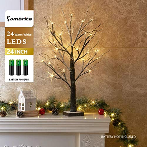 """EAMBRITE Battery-Operated 24"""" Snow Bonsai Tree Lights with 24 Warm White LED for Indoor use Tabletop Tree Light for Home Decor from EAMBRITE"""