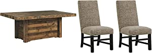Signature Design by Ashley Dining Table, Sommerford, Summerford & Design - Sommerford Dining Side Chair - Set of 2 - Casual - Brown Upholstery - Black Wood Frame