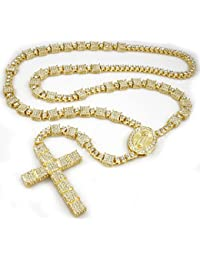 14k Gold Silver Black Canary Iced Out SQUARE Rosary Men Necklace